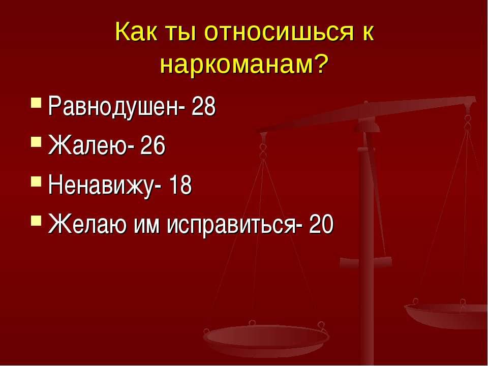 Как ты относишься к наркоманам? Равнодушен- 28 Жалею- 26 Ненавижу- 18 Желаю и...