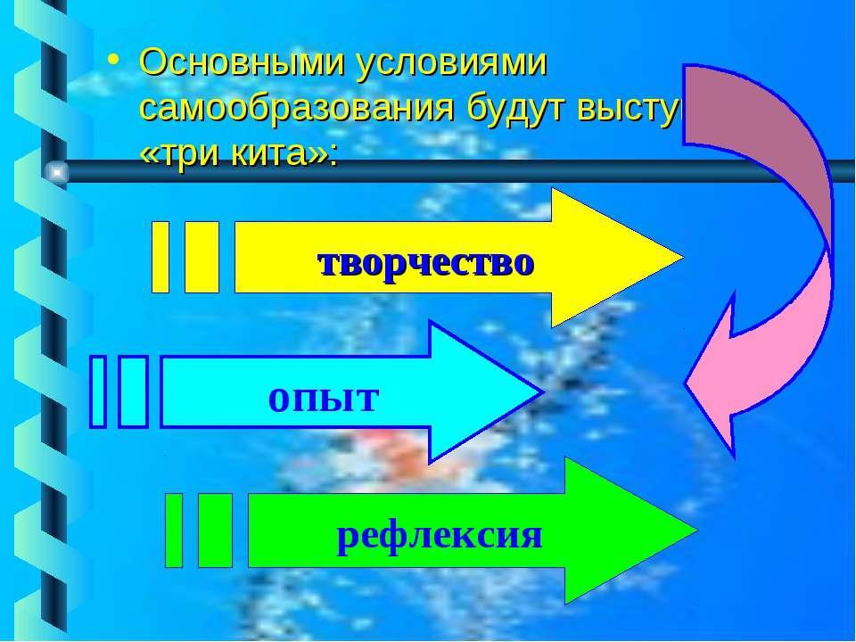 Основными условиями самообразования будут выступать «три кита»: творчество оп...