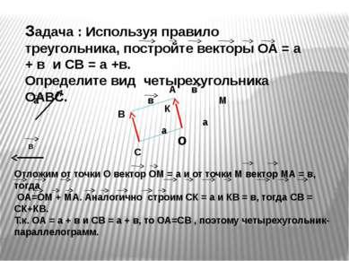 Задача : Используя правило треугольника, постройте векторы ОА = а + в и CВ = ...