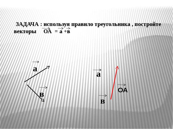 ЗАДАЧА : используя правило треугольника , постройте векторы ОА = а +в а в в О...