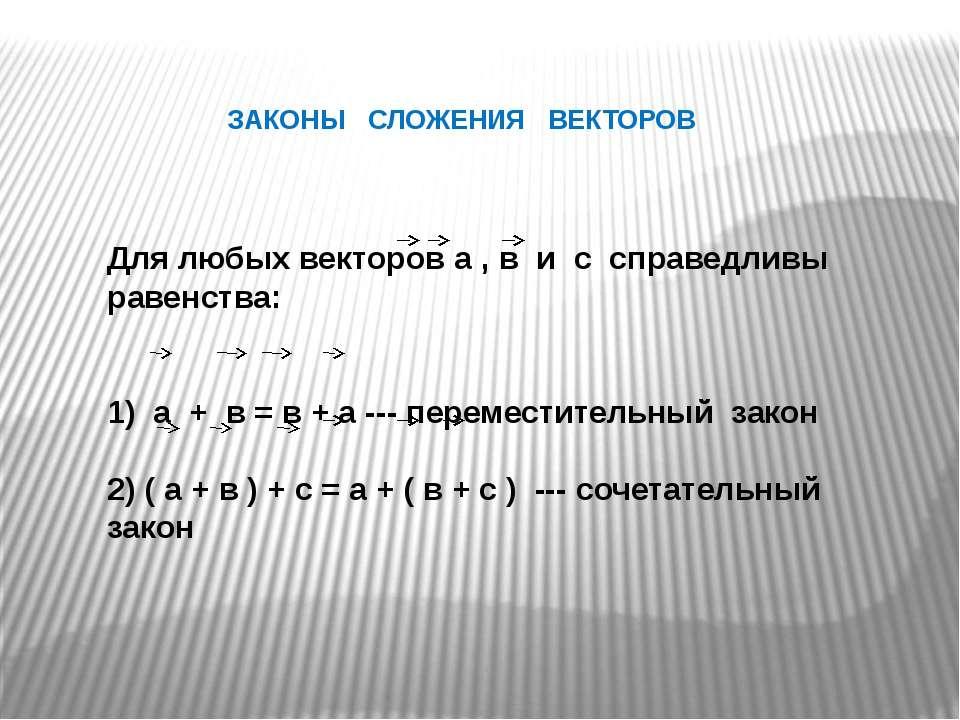 ЗАКОНЫ СЛОЖЕНИЯ ВЕКТОРОВ Для любых векторов а , в и с справедливы равенства: ...
