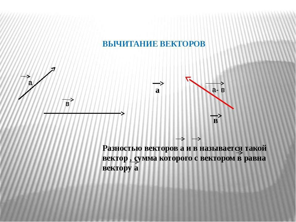ВЫЧИТАНИЕ ВЕКТОРОВ а в а- в Разностью векторов а и в называется такой вектор ...