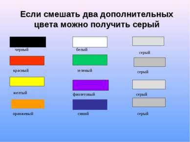 Если смешать два дополнительных цвета можно получить серый зеленый серый белы...