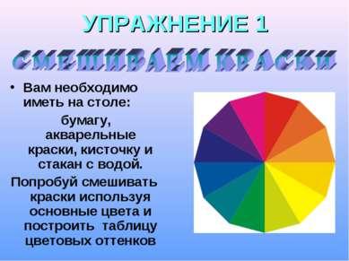 УПРАЖНЕНИЕ 1 Вам необходимо иметь на столе: бумагу, акварельные краски, кисто...