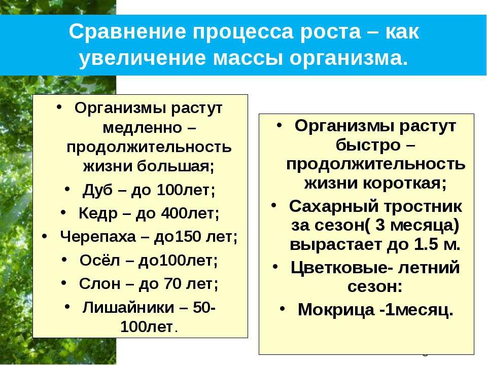 Сравнение процесса роста – как увеличение массы организма. Организмы растут м...