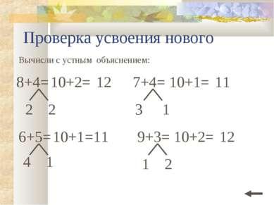 Проверка усвоения нового Вычисли с устным объяснением: 6+5= 10+1 =11 4 1 2 2 ...