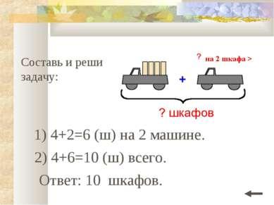 Составь и реши задачу: 1) 4+2=6 (ш) на 2 машине. Ответ: 10 шкафов. 2) 4+6=10 ...