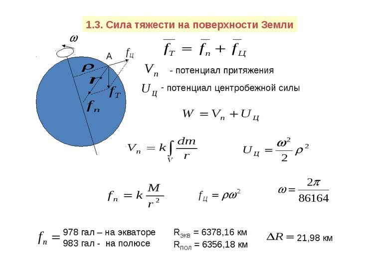 1.3. Сила тяжести на поверхности Земли А - потенциал притяжения потенциал цен...
