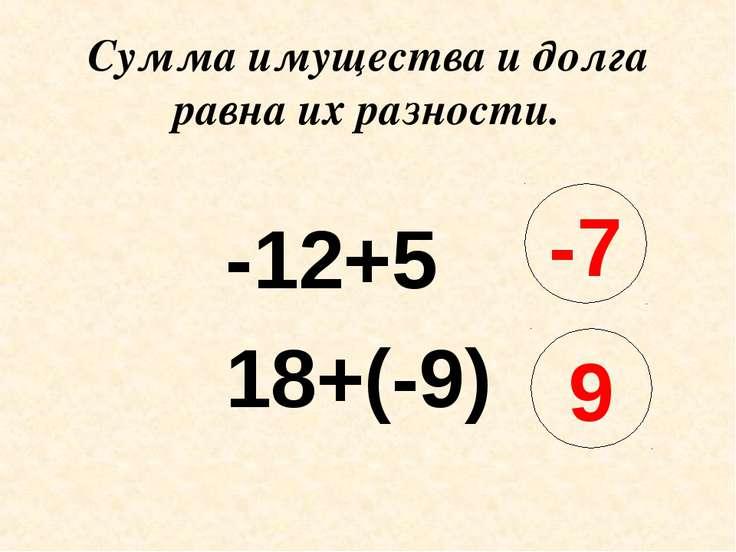 Сумма имущества и долга равна их разности. -12+5 18+(-9) -7 9