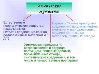 Химические мутагены Естественные неорганические вещества (окислы азота, нитра...