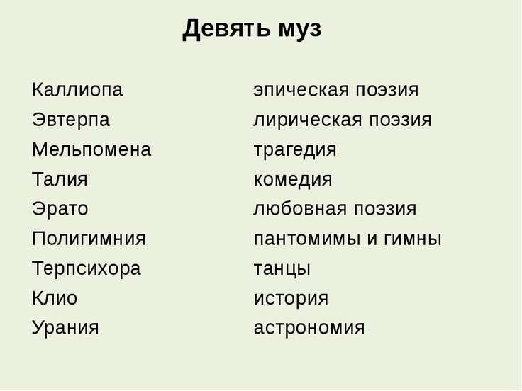 Девять муз Каллиопа эпическая поэзия Эвтерпа лирическая поэзия Мельпомена тра...