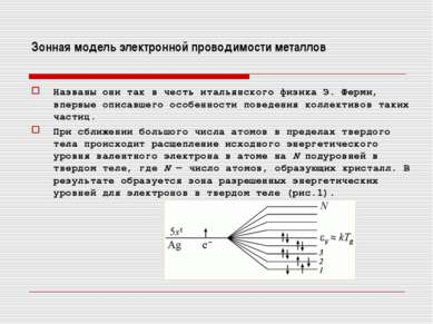 Зонная модель электронной проводимости металлов Названы они так в честь италь...
