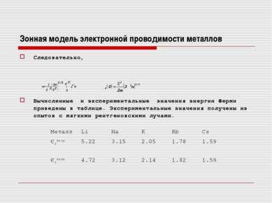 Зонная модель электронной проводимости металлов Следовательно, Вычисленные и ...