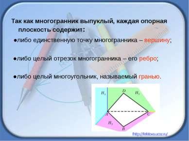 Так как многогранник выпуклый, каждая опорная плоскость содержит: ●либо единс...
