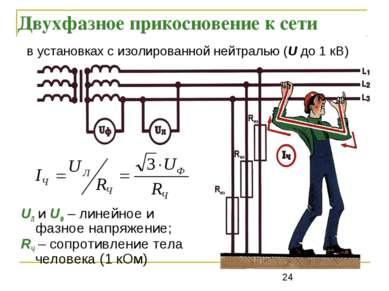 Двухфазное прикосновение к сети UЛ и UФ – линейное и фазное напряжение; RЧ – ...