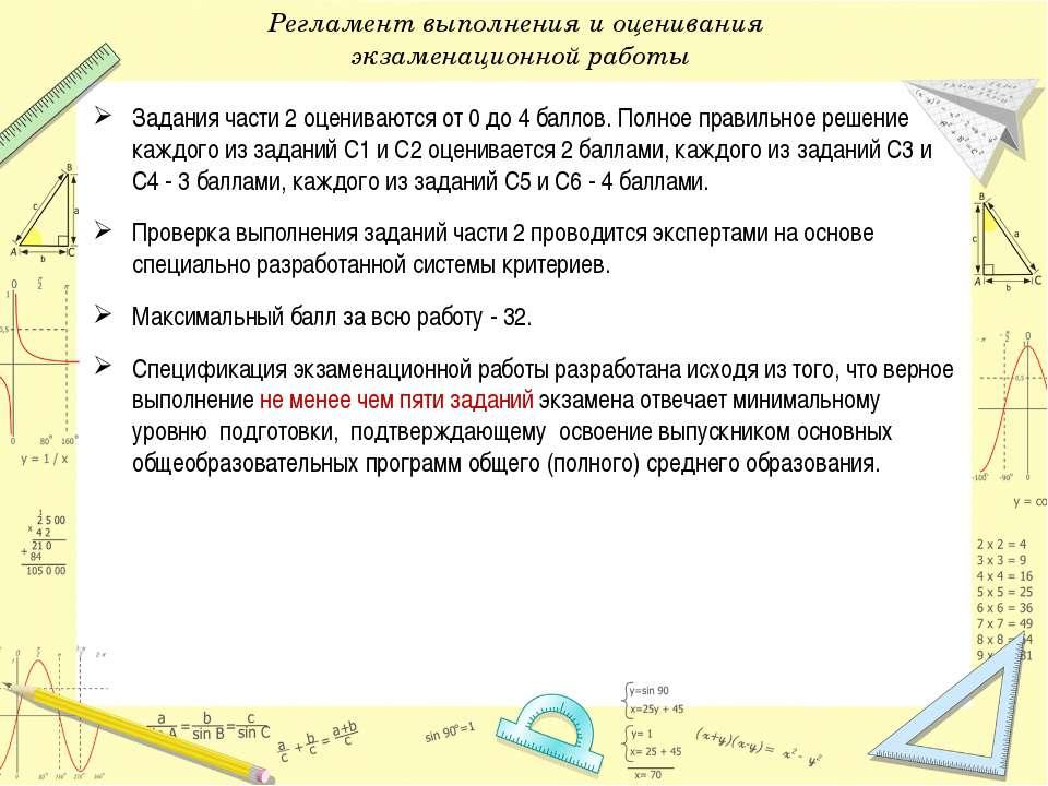 Регламент выполнения и оценивания экзаменационной работы Задания части 2 оцен...