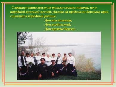 Славится наша земля не только своими нивами, но и народной казачьей песней. Д...