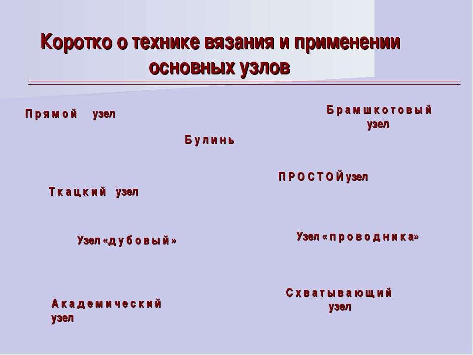 Коротко o технике вязания и применении основных узлов П р я м о й узел Т к а ...