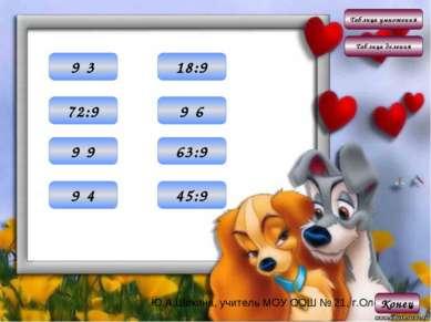 Таблица умножения Таблица деления Конец 27 9·3 36 9·4 54 9·6 81 9·9 2 18:9 5 ...