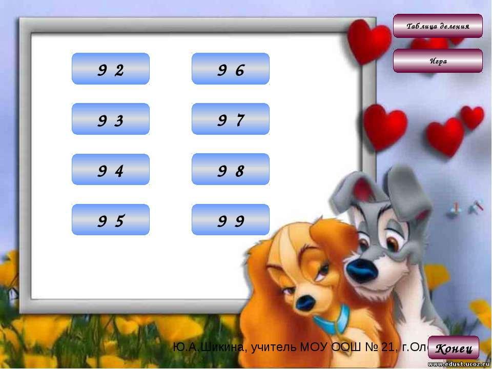 Таблица деления Игра 18 9·2 Конец 27 9·3 36 9·4 45 9·5 54 9·6 63 9·7 72 9·8 8...