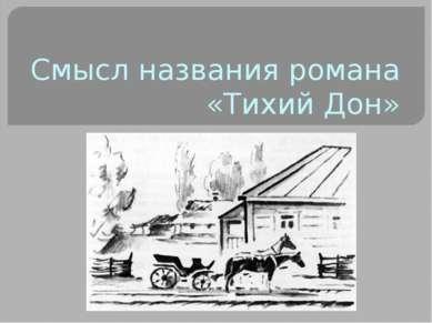 Смысл названия романа «Тихий Дон»