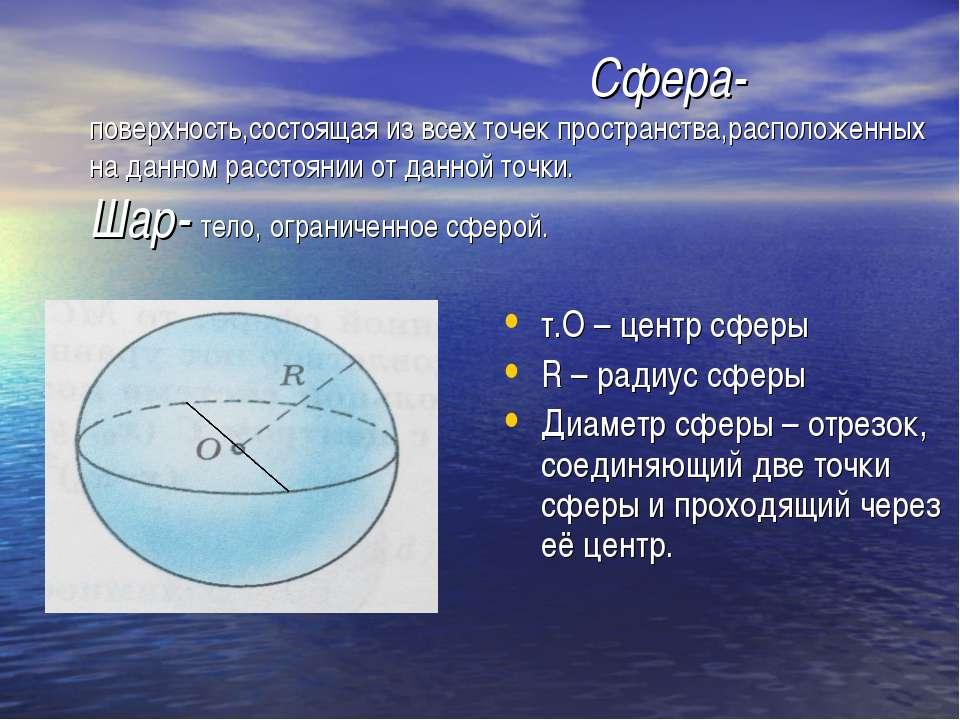 Сфера- поверхность,состоящая из всех точек пространства,расположенных на данн...
