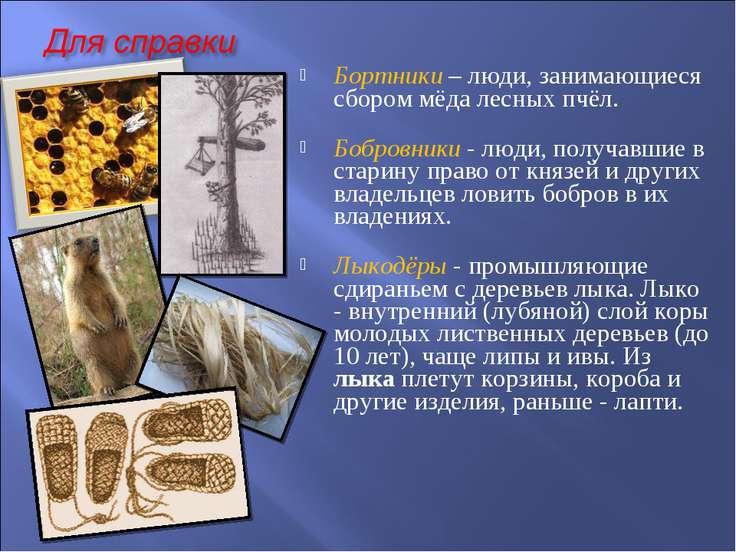 Бортники – люди, занимающиеся сбором мёда лесных пчёл. Бобровники - люди, пол...