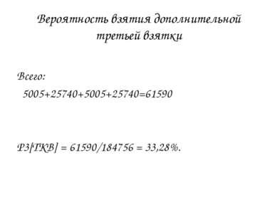 Вероятность взятия дополнительной третьей взятки Всего: 5005+25740+5005+25740...