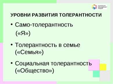 УРОВНИ РАЗВИТИЯ ТОЛЕРАНТНОСТИ Само-толерантность («Я») Толерантность в семье ...