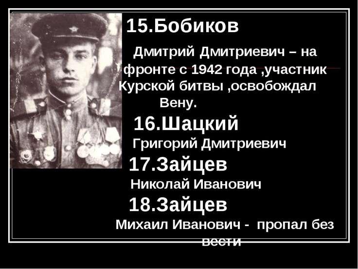 15.Бобиков Дмитрий Дмитриевич – на фронте с 1942 года ,участник Курской битвы...