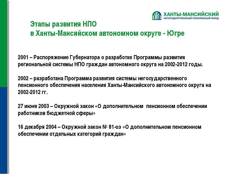 Этапы развития НПО в Ханты-Мансийском автономном округе - Югре 2001 – Распоря...
