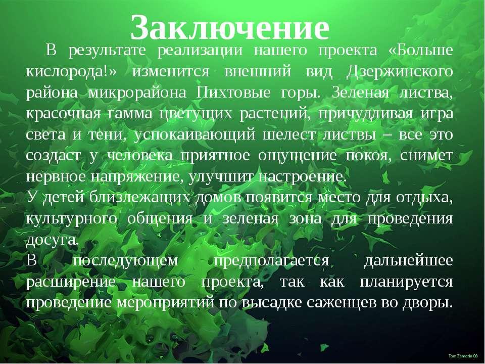 Заключение В результате реализации нашего проекта «Больше кислорода!» изменит...
