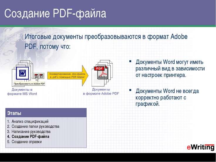 Создание PDF-файла Итоговые документы преобразовываются в формат Adobe PDF, п...