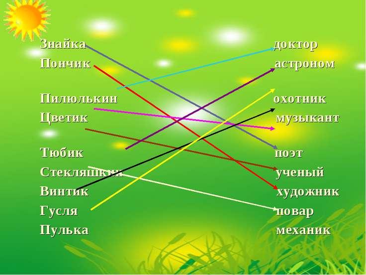 Знайка доктор Пончик астроном Пилюлькин охотник Цветик музыкант Тюбик поэт Ст...