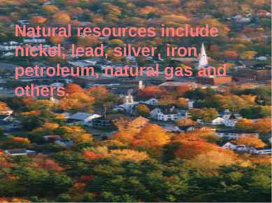 Natural resources include nickel, lead, silver, iron, petroleum, natural gas ...
