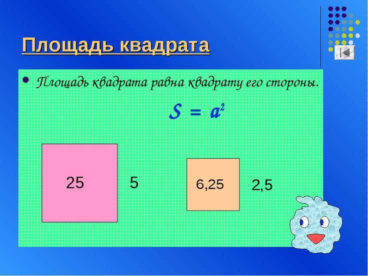 Площадь квадрата Площадь квадрата равна квадрату его стороны. S = a2 25 5 6,2...