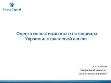 Оценка инвестиционного потенциала Украины: отраслевой аспект А.И. Амелин Гене...