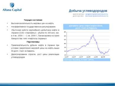Добыча углеводородов Текущее состояние Высокая волатильность мировых цен на н...