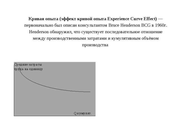 Кривая опыта (эффект кривой опыта Experience Curve Effect)— первоначально бы...