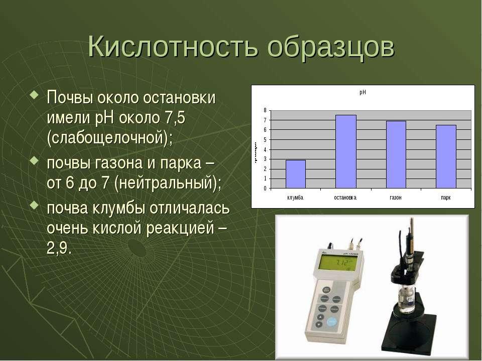 Кислотность образцов Почвы около остановки имели рН около 7,5 (слабощелочной)...