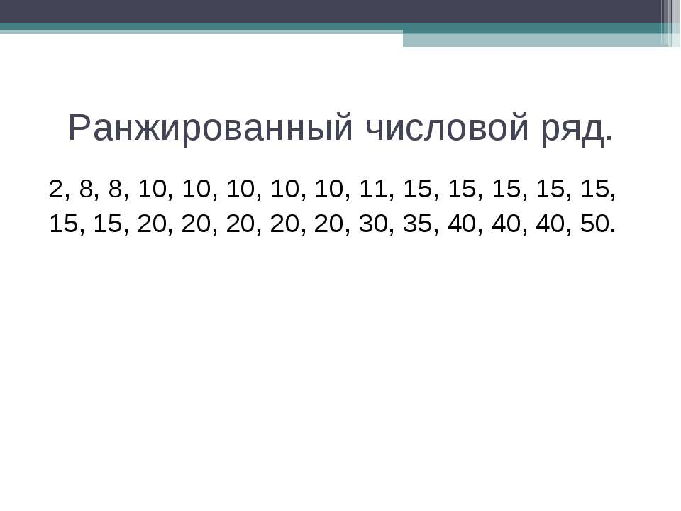 Ранжированный числовой ряд. 2, 8, 8, 10, 10, 10, 10, 10, 11, 15, 15, 15, 15, ...