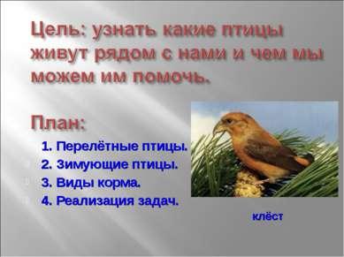 1. Перелётные птицы. 2. Зимующие птицы. 3. Виды корма. 4. Реализация задач. к...