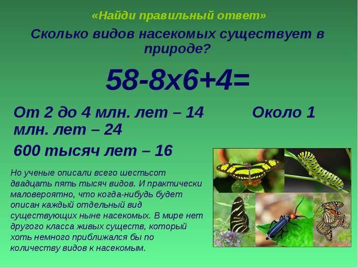 «Найди правильный ответ» Сколько видов насекомых существует в природе? 58-8х6...