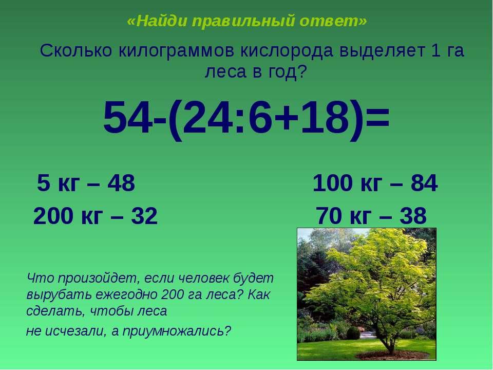 «Найди правильный ответ» Сколько килограммов кислорода выделяет 1 га леса в г...
