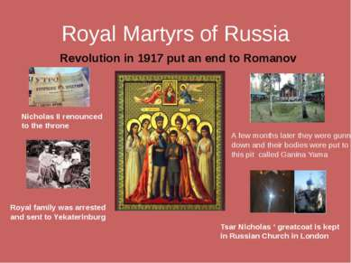 Royal Martyrs of Russia Revolution in 1917 put an end to Romanov reign Nichol...