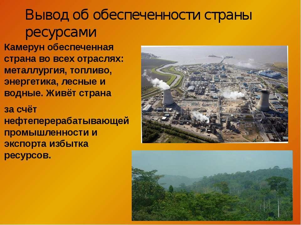 Камерун обеспеченная страна во всех отраслях: металлургия, топливо, энергетик...