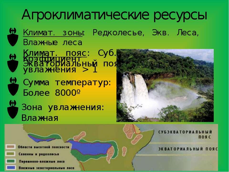 Агроклиматические ресурсы Климат. зоны: Редколесье, Экв. Леса, Влажные леса К...