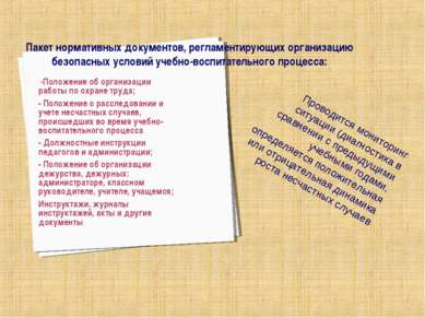 Пакет нормативных документов, регламентирующих организацию безопасных условий...
