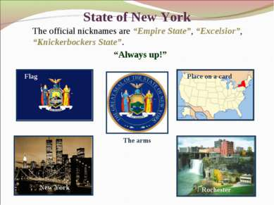 "State of New York The official nicknames are ""Empire State"", ""Excelsior"", ""Kn..."