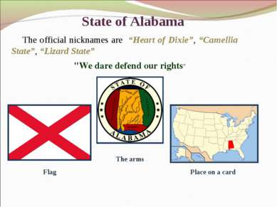 "State of Alabama ""We dare defend our rights"" The official nicknames are ""Hear..."